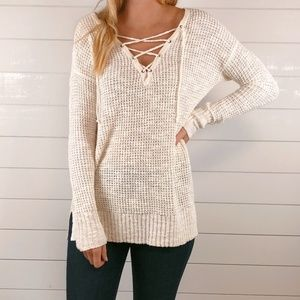 AEO Chunky Knit Cream Sweater Front Tie V-Neck Top